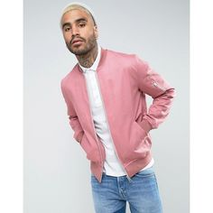 ASOS Cotton Bomber Jacket With Sleeve Zip In Pink ($48) ❤ liked on Polyvore featuring men's fashion, men's clothing, men's outerwear, men's jackets, pink, mens tall jackets, mens short sleeve jacket, mens zip jacket, mens cotton jacket and mens cotton bomber jacket