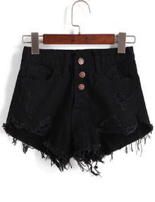 Einreihe Denim Shorts mit zerrissenen Design-schwarz