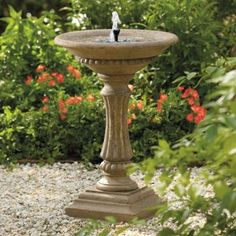 Amazon.com: Solar-powered Ashbourne Birdbath - Aged Granite - Grandin Road: Patio, Lawn & Garden $99.00
