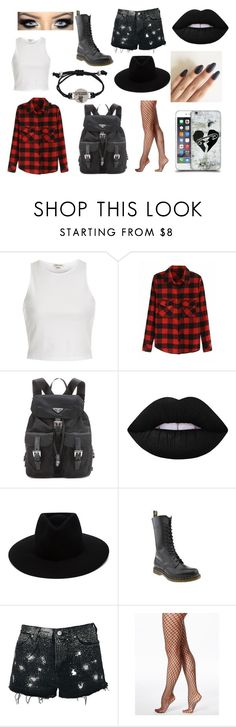"""Date with 5SoS"" by american-idi0t ❤ liked on Polyvore featuring River Island, Prada, Lime Crime, rag & bone, Dr. Martens, Topshop and Hue"