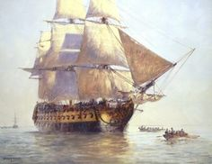 Old Sailing Ship Paintings   HMS Temeraire by Geoff Hunt.