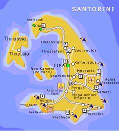 santorini greece Travel Guide to Santorini, Greece Mykonos, Santorini Map, Santorini Island, Greece Cruise, Greece Vacation, Greece Travel, Greece Trip, Les Balkans, Cyprus