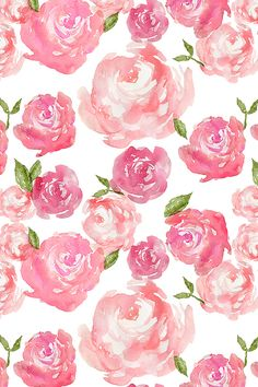 Watercolor Floral by laurapol - Bold hand painted roses in shades of pink on fabric, wallpaper, and gift wrap.  Beautiful painterly watercolor flowers.
