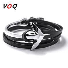 2016 Fashion Jewelry Hot Sale 76cm PU Leather Bracelet Men Anchor Bracelets For Women Best Friend Gift Free Shipping H7-12 * Haciendo click sobre la VISITA botón le llevará a encontrar productos similares