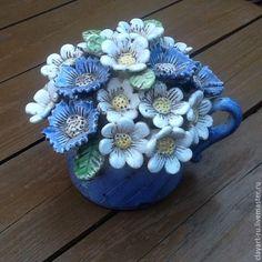Ceramic flowers | Ромашки и васильки в чашке. Керамический букетик – купить в интернет-магазине на Ярмарке Мастеров с доставкой