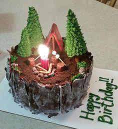 r Camping birthday cake Camping Birthday Cake, Camping Cakes, Cake Birthday, Camping Desserts, Camping Glamping, Camping Gear, Pretty Cakes, Cute Cakes, Beautiful Cakes