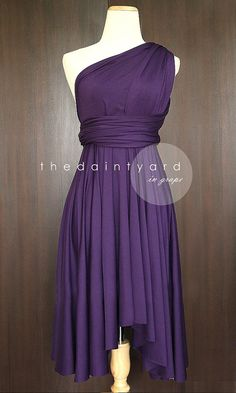 Hey Kayla check out this dress.. it can change into different designs! i thought you said something about the girls wearing different styles. Also, check out the price! Grape Bridesmaid Convertible Dress Infinity Dress Multiway Dress Wrap Dress Royal Purple Dark Purple Deep Purple Knee Length Hi Low Hems on Etsy, $36.78 CAD