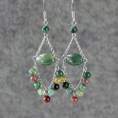 Earrings chandelier agate stone dangle