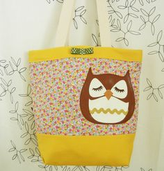 Stewart the Owl Cute Yellow Pink Floral Canvas Tote Shoulder bag. $60.00, via Etsy.