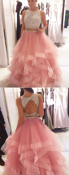Cute sequins pink tulle two piece prom dress for teens #promdress #prom #dress #style