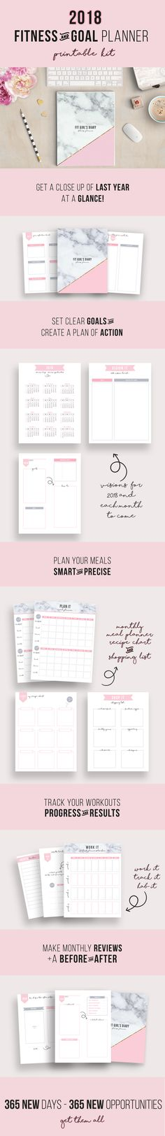 2018 Fitness Planner Printable Kit – Your Planner To Organized And Healthy Year