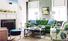 obsessed with this green couch!   Madeline Weinrib Turquoise Luce Ikat Pillows in House Beautiful May 2012. Interior design by Christina Murphy and photography by Jonny Valiant.