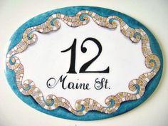 Targa mosaico con onde marine Numero civico e indirizzo Targhetta nomi personalizzata Targa porcellana dipinta a mano