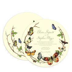 Fluttering Forever - Signature Ecru Wedding Invitations - Claire Pettibone - Bark - Green : Front