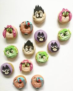 Teen Titans Go donuts by Cupcakes & Studmuffins Teen Titans Go, Donuts, Cupcakes, Party, Frost Donuts, Cupcake Cakes, Beignets, Parties, Cup Cakes