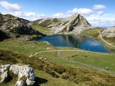 Lake Enol, Covadonga, Picos de Europa National Park, Asturias, Spain
