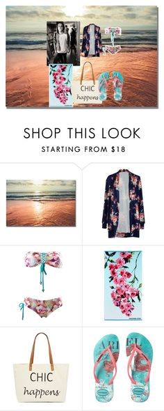 """""""Beach with Brad Simpson +The Vamps+"""" by vinyalscratch200 ❤ liked on Polyvore featuring Designers Guild, Straw Studios and Havaianas"""