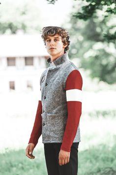 Blazer, Men Sweater, Sweaters, Style, Fashion, Crests, Mandarin Collar, Scale Model, Grey