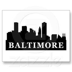 Baltimore Skyline Postcards from Zazzle.com