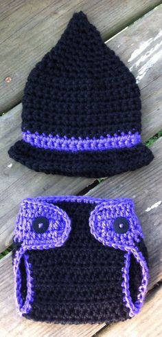 Newborn Baby Girl Crochet Halloween WITCH Black Purple Hat n Diaper Cover Photo Prop Set