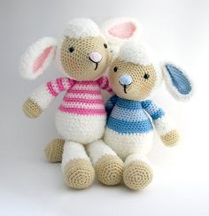 Lollo and Lulu Lamb amigurumi crochet pattern by Janine Holmes at Moji-Moji Design