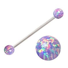 Sparkling synthetic Purple fire Opal Industrial Barbell piercing bar... ❤ liked on Polyvore featuring jewelry, purple jewelry, imitation jewelry, fire opal jewelry, sparkle jewelry and artificial jewellery