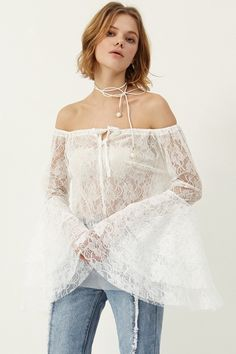 Cris Lace Off-the-Shoulder Top Discover the latest fashion trends online at storets.com