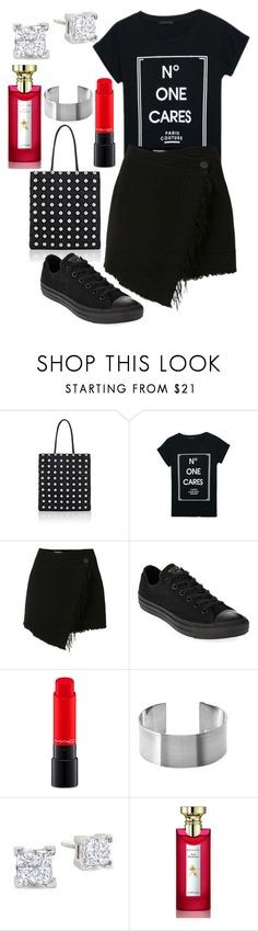 """""""Untitled #3868"""" by fcharese ❤ liked on Polyvore featuring Alexander Wang, WithChic, Raquel Allegra, Converse, MAC Cosmetics, Maria Dorai Raj and Bulgari"""