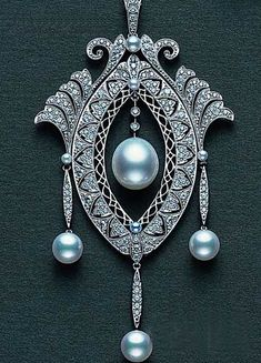 Art Deco Diamond Pearl Pendant