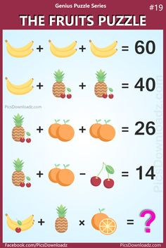 The Banana Orange Pineapple Cherry Puzzle. The Fruits Puzzle: Genius Puzzle Series 19 (Banana, Orange, Pineapple, Cherry). The Viral Fruit Brainteaser Puzzle with Answer. Math Puzzles Brain Teasers, Math Logic Puzzles, Math Riddles With Answers, Quiz With Answers, Math For Kids, Fun Math, Math Wallpaper, Funny Happy Birthday Wishes, Math Genius