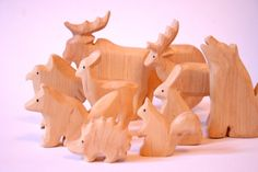 Animals of the woods wooden Waldorf toys by Baumstammbuch on Etsy, $90.00