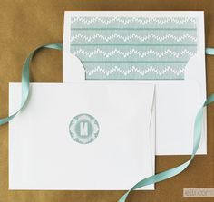 DIY art deco monogram labels and matching envelope liner.