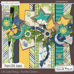 Project 2014 August: Life Gets Messy - Border Clusters :: Gotta Pixel Digital Scrapbook Store from Designs by Connie Prince