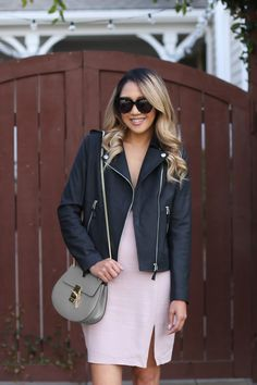 Beyond Basic Blog Light and Dark ASTR V Neck Dress BP Booties Dezzal Leather Jacket