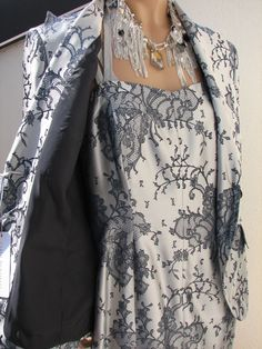 NEW Carlo PIGNATELLI mother bride wedding dress jacket silver blue luxury 44 #DressSuit
