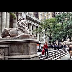 The lions outside the New York Public Library have names — Patience and Fortitude. #library
