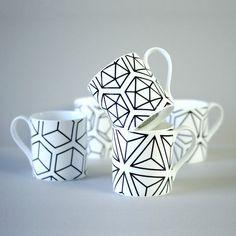 Set of five Platonic Solids mugs