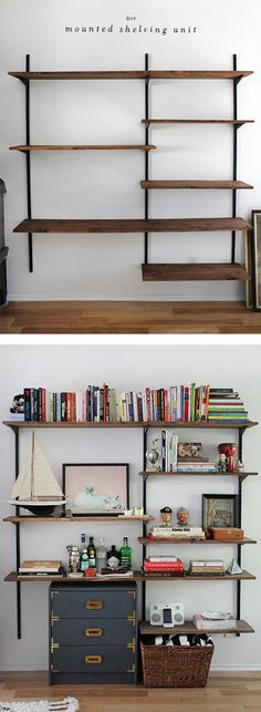 TO BE SHELVED: Three non-traditional wooden bookshelves--take out the bottom shelf an could be a desk? Hmm
