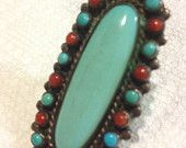 Fabulous Early 20c American Indian Pawn Sterling Silver, Turquoise & Coral Ring