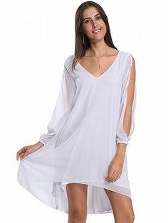 Blanco Manga abierta gasa vestido de Hi-Lo
