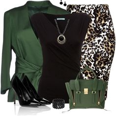 Fun work outfit idea - olive green blazer with tie waist, black cap sleeve tee, animal print pencil skirt, green handbag purse, black pumps heels, black bracelet and earrings.