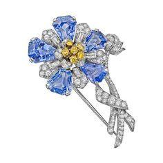 Sapphire & Multicolored Diamond Flower Brooch.
