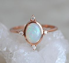 Opal Engagement Ring, Fire Opal Ring, Rainbow Opal Ring, Opal Diamond Ring, Oval Engagement Ring, Opal Diamond Ring, Diamond Opal Band