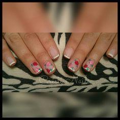 Nails francesa con rosas