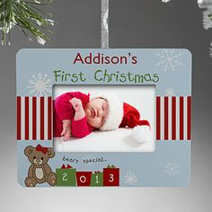 Babys first christmas frame christmas pinterest christmas first christmas personalized mini frame ornament negle Images