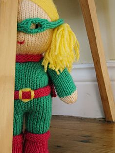 larger Super Hero Doll free Knit pattern by Aine Marriott Knitting Dolls Free Patterns, Knitted Dolls Free, Knitting For Kids, Loom Knitting, Amigurumi Patterns, Free Knitting, Knitting Projects, Crochet Toys, Baby Knitting