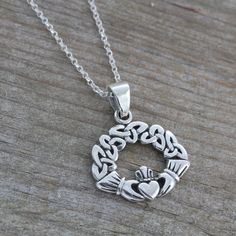 Gorgeous Claddagh Necklace Celtic by LifeOfSilver on Etsy, $34.80