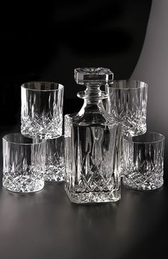 Royal Doulton Mode Seasons Decanter and Six DOF Set...I think I have this crystal...1.50 euro each