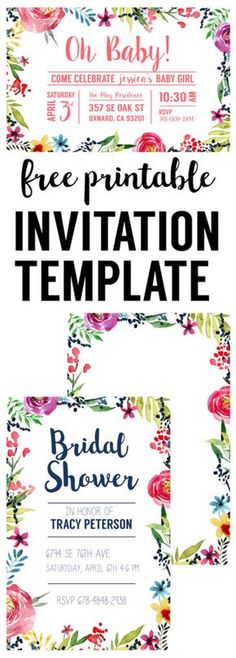 Floral Borders Invitations {Free Printable Invitation Templates - free baby shower invitation templates for word