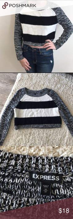 | EXPRESS | STRIPED CROPPED CHUNKY KNIT SWEATER Excellent condition Express chunky knit sweater. Slight cropped & perfect with high waisted jeans. Bundle discounts & offers accepted! Thanks for looking 😊 Express Sweaters Crew & Scoop Necks